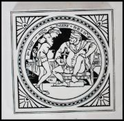 A 19th Century Victorian Aesthetic Minton pottery tile with decorated with a scene from King Henry