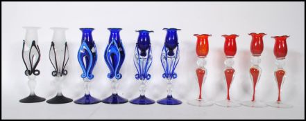 A collection of 10 Italian studio art glass candlesticks dating from the 20th century. To include