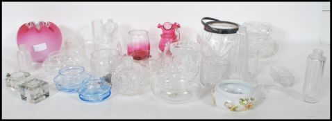A large collection of antique and 20th Century mixed glass wares to include as selection of cut