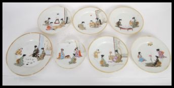 A selection of 20th Century Japanese character plates consisting of five side plates and one