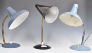 SET OF THREE 1950'S DESIGNER GOOSE NECK DESK LAMPS