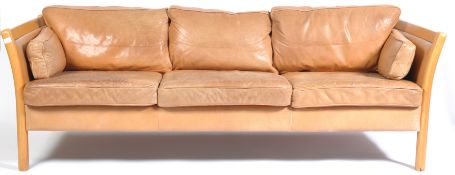 STOUBY 1970'S DANISH LEATHER THREE SEATER SOFA SETTEE