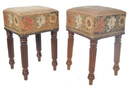 PAIR OF BELIEVED GILLOWS MAHOGANY UPHOLSTERED FOOTSTOOLS