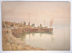 C.P.B.S. LILLINGSTON (fl.1871-1899) CORNISH WATERCOLOUR PAINTING OF BOATS