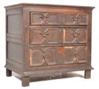 17TH CENTURY BLOCK FRONTED GEOMETRIC BACHELORS OAK CHEST OF DRAWERS