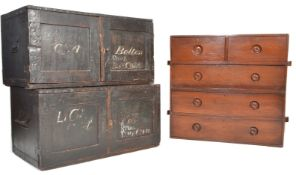 19TH CENTURY VICTORIAN MAHOGANY CAMPAIGN CHEST OF DRAWERS