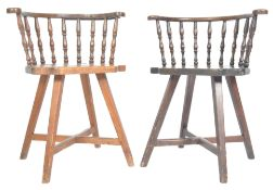PAIR OF 19TH CENTURY PINE COUNTRY TAVERN PUB CHAIRS