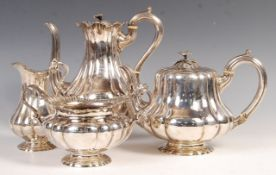 19TH CENTURY VICTORIAN SILVER TEA SET BY JAMES CHARLES EDINGTON