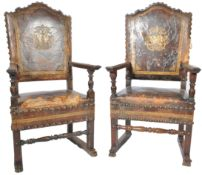 PAIR OF BELIEVED 18TH CENTURY ITALIAN COURT CHAIRS ARMCHAIR
