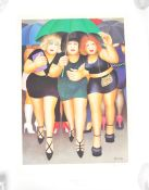 AFTER BERYL COOK SIGNED PRINT ENTITLED ' CLUBBING IN THE RAIN '