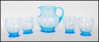 A vintage mid 20th Century 1950's blue glass lemon