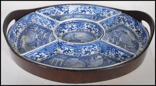 A 19th Century Booth's blue and white china hors d