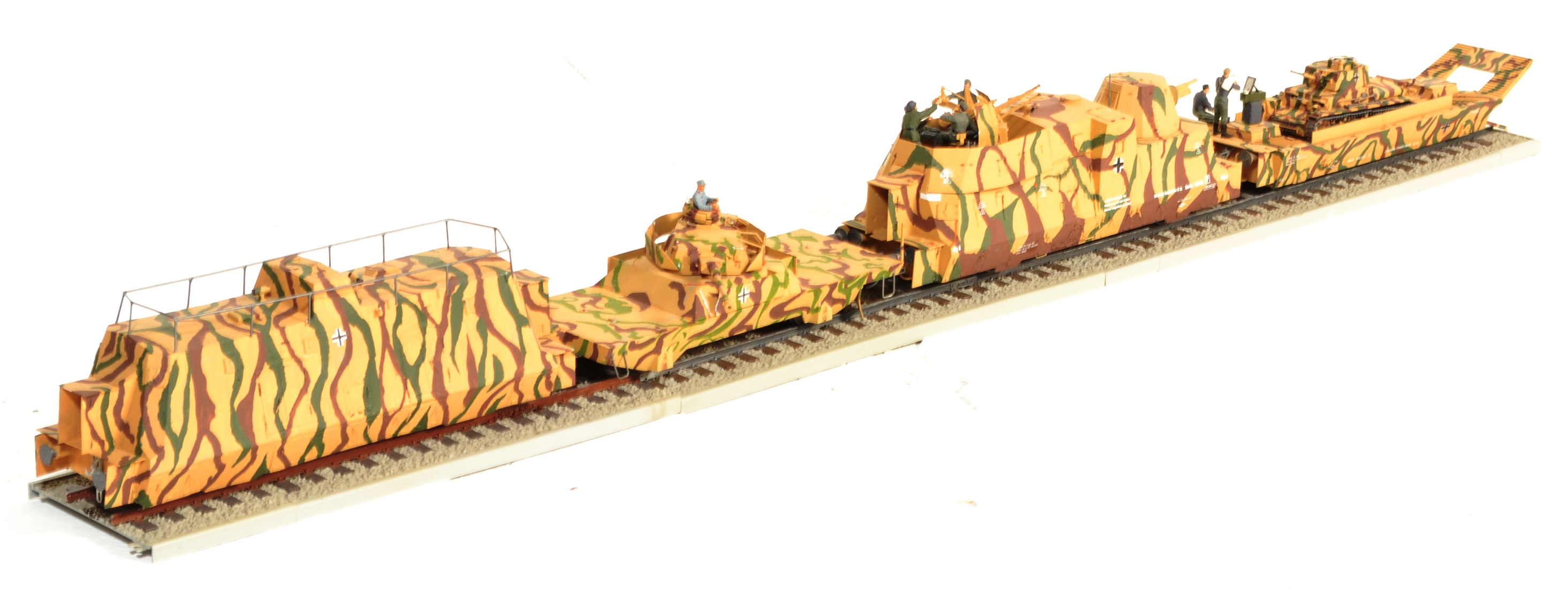 LARGE WWII GERMAN NAZI ARMOURED TRAIN TANK TRANSPORTER