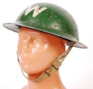 RARE WWII SECOND WORLD WAR AIR RAID WARDEN'S HELMET GREEN