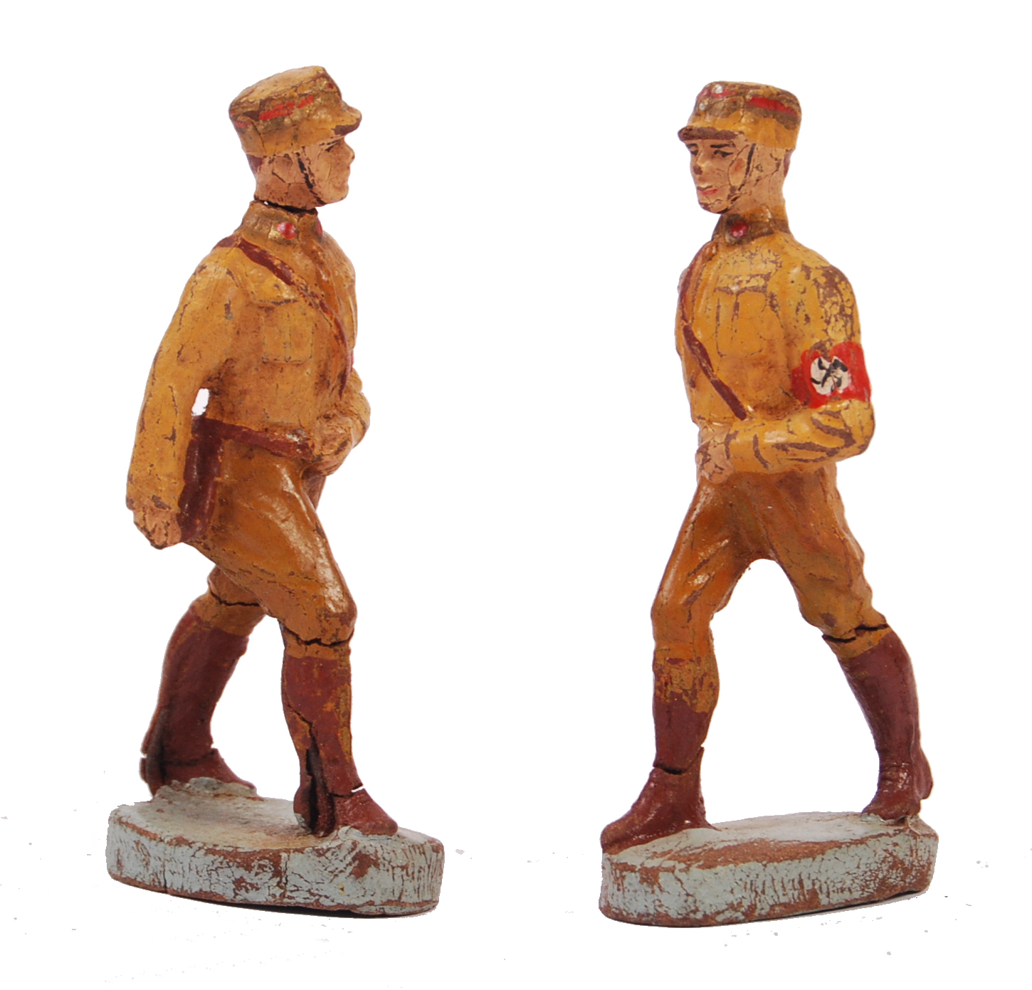 RARE ANTIQUE GERMAN NAZI PARTY BROWNSHIRT ELASTOLIN FIGURES