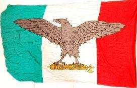 WWII ITALIAN MUSSOLINI UNIT LARGE LINEN 1944 FLAG