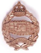 RARE WWII ROYAL TANK REGIMENT ECONOMY CAP BADGE