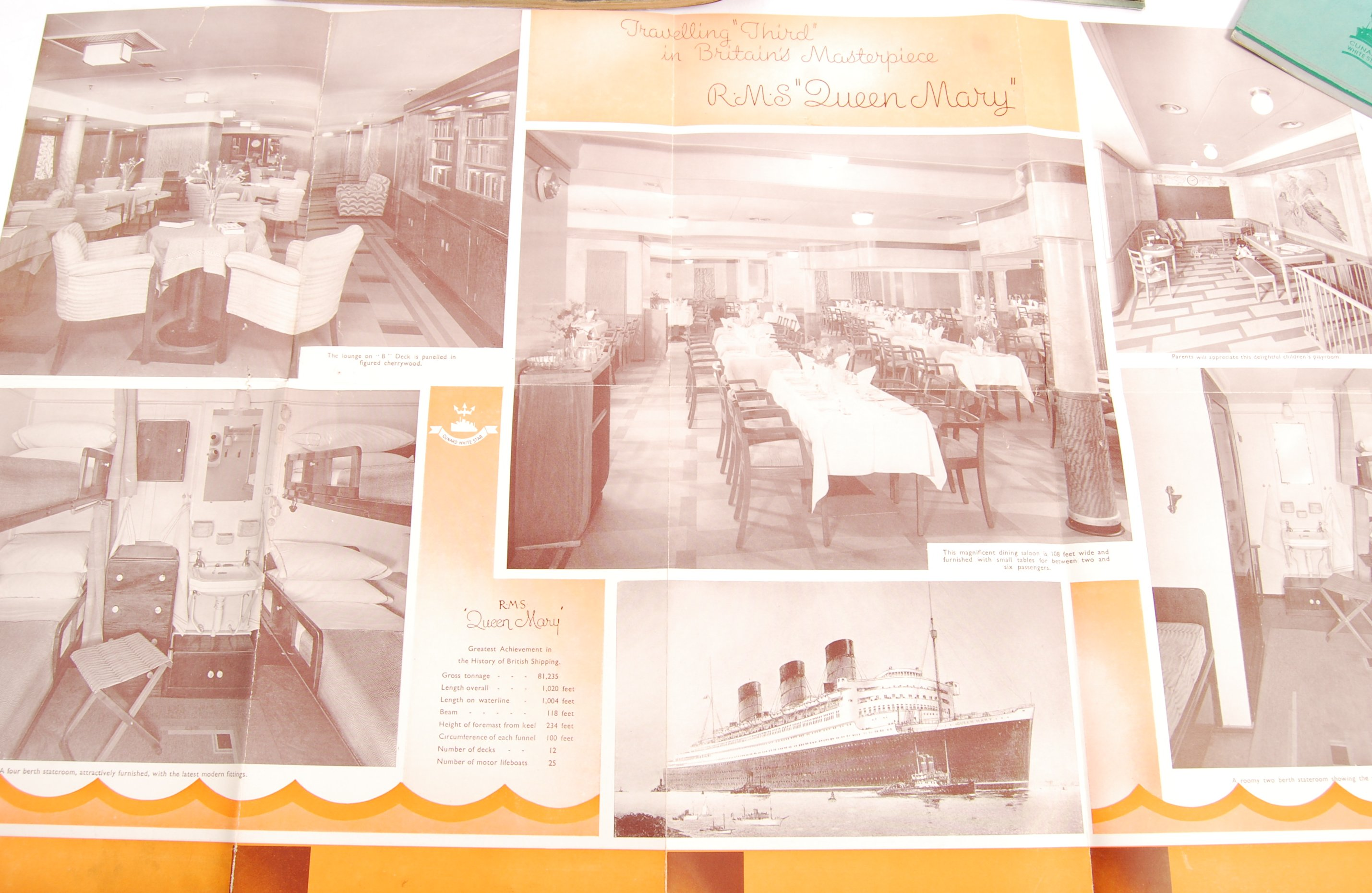 Lot 379 - CUNARD WHITE STAR LINE RMS QUEEN MARY BROCHURES &