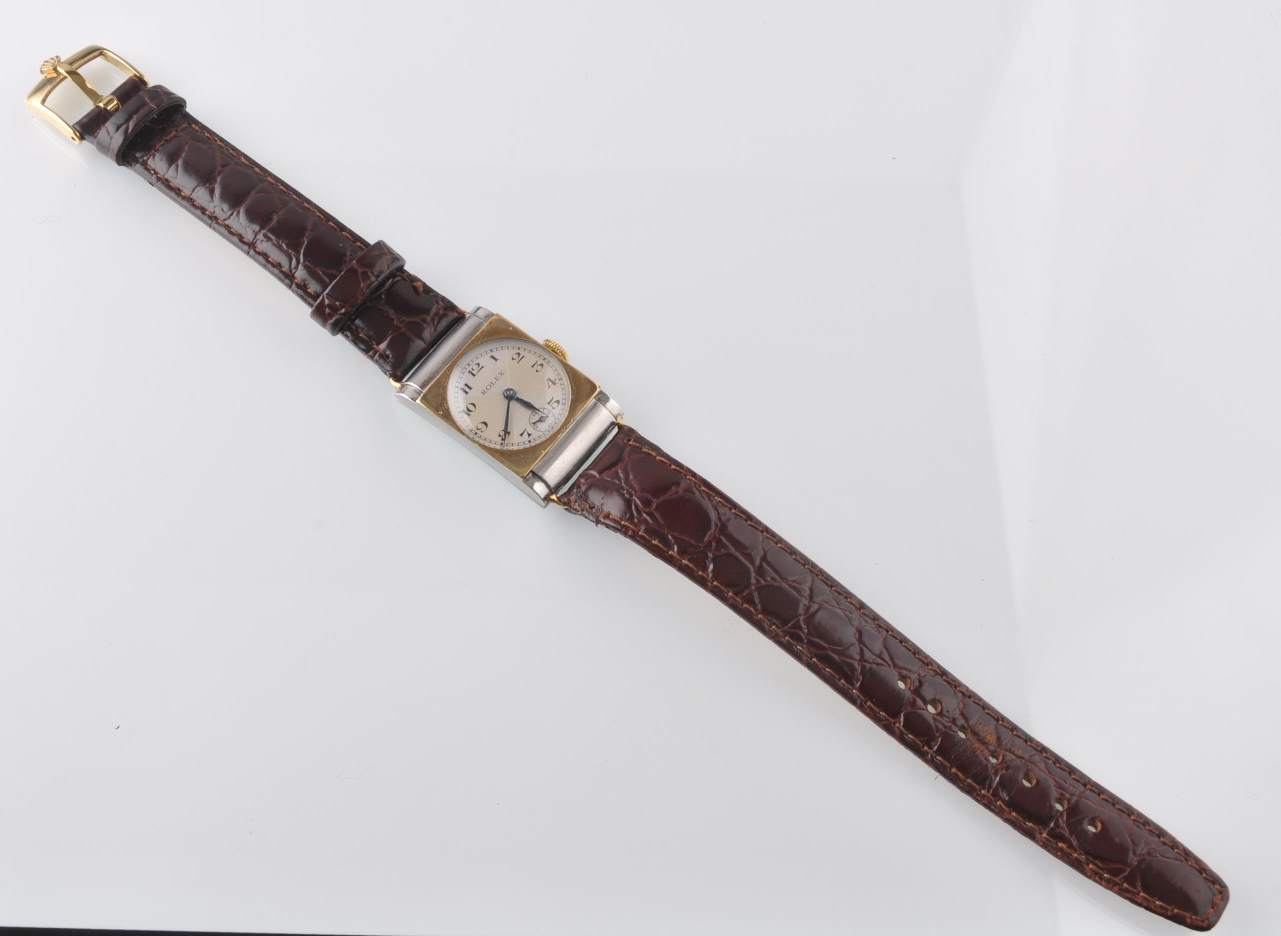 Lot 12 - RARE ROLEX 1930'S BI COLOUR GOLD AND STEEL WRIST W
