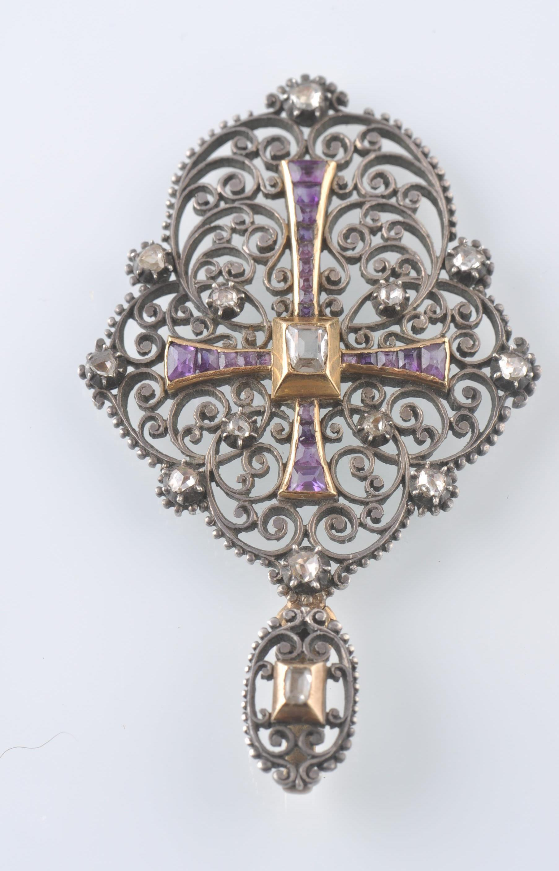 Lot 46 - A 19TH CENTURY FRENCH / BELGIAN SILVER, GOLD, DIAM