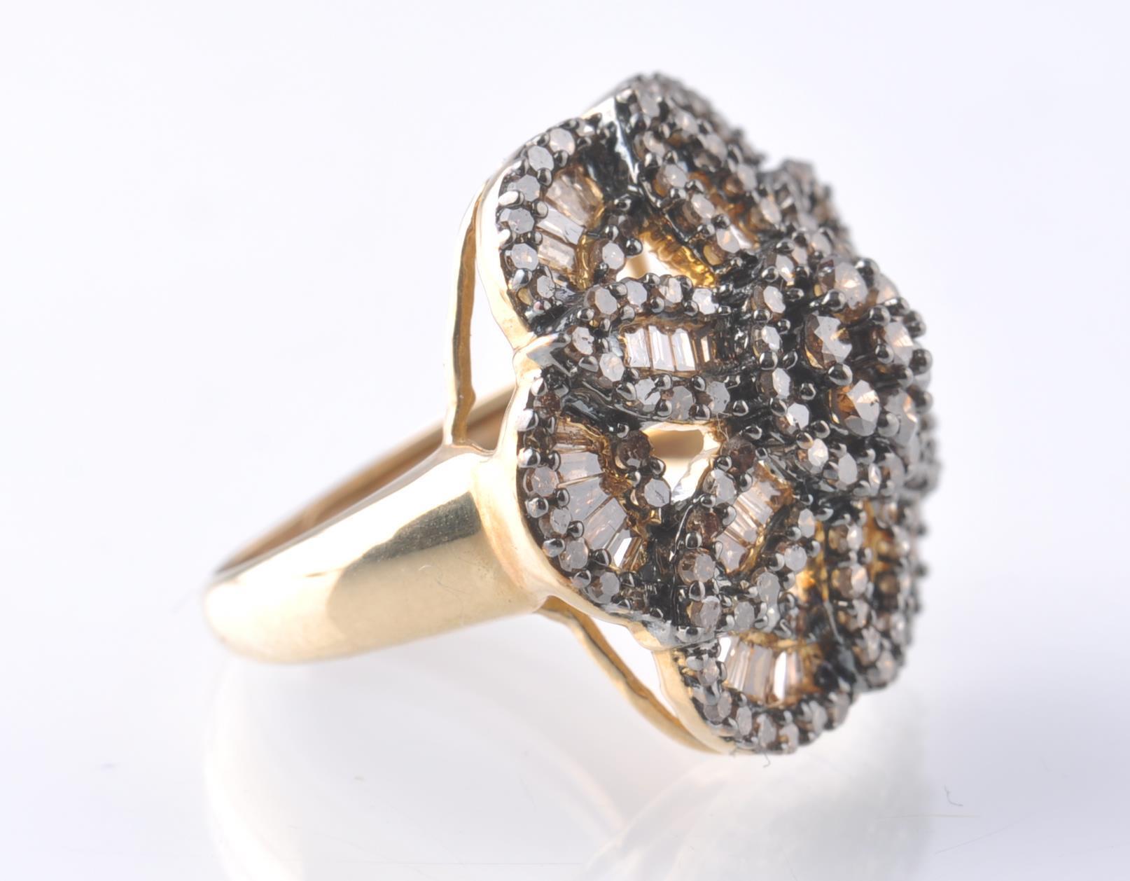 Lot 143 - 9CT GOLD BIRMINGHAM CHAMPAGNE DIAMOND FLOWER CLUST