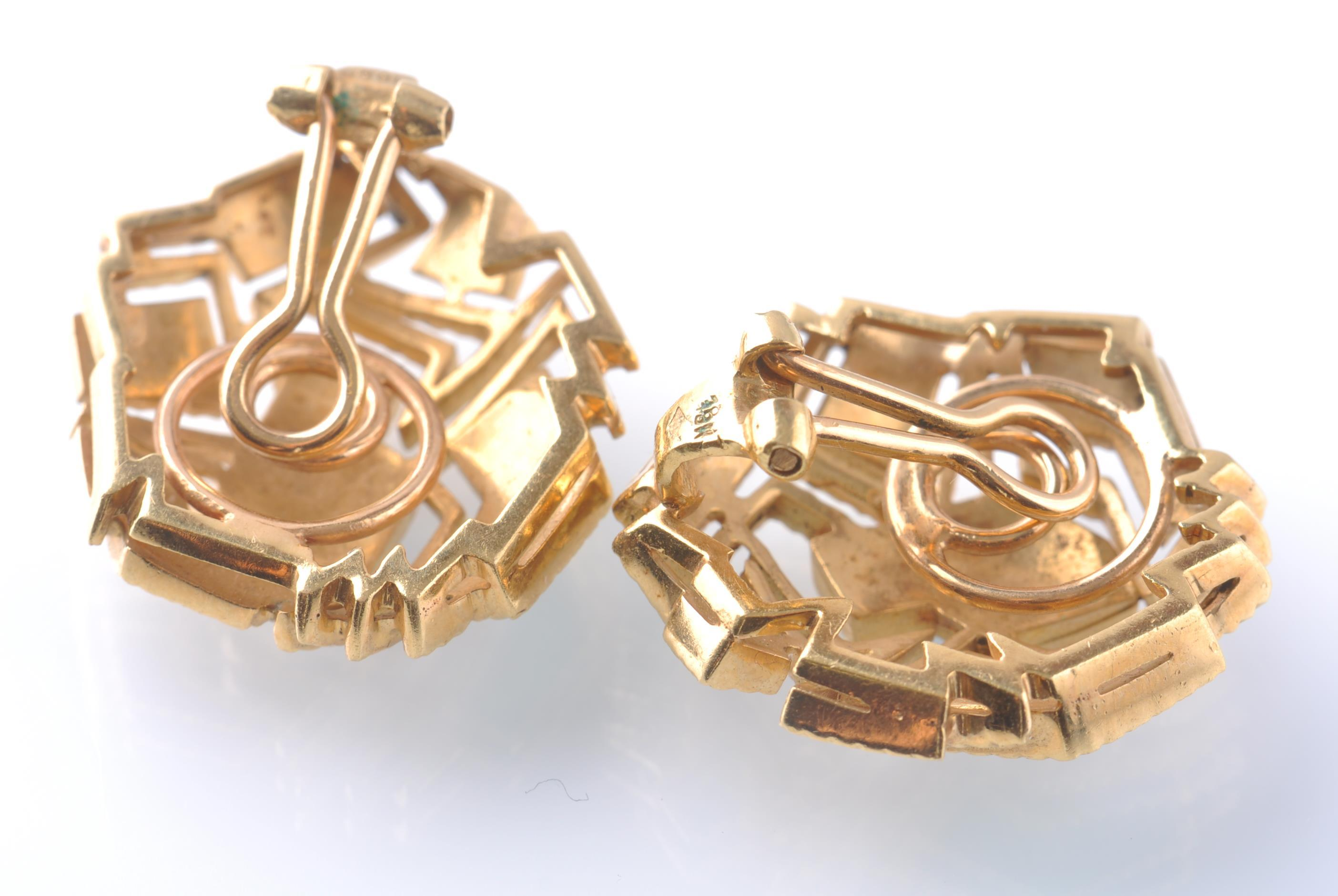 Lot 74 - A PAIR OF 18CT GOLD AND ENAMEL EAR CLIPS