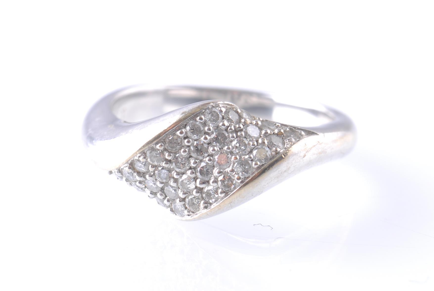 Lot 95 - An 18CT WHITE GOLD SCANDINAVIAN DIAMOND CROSS OVER