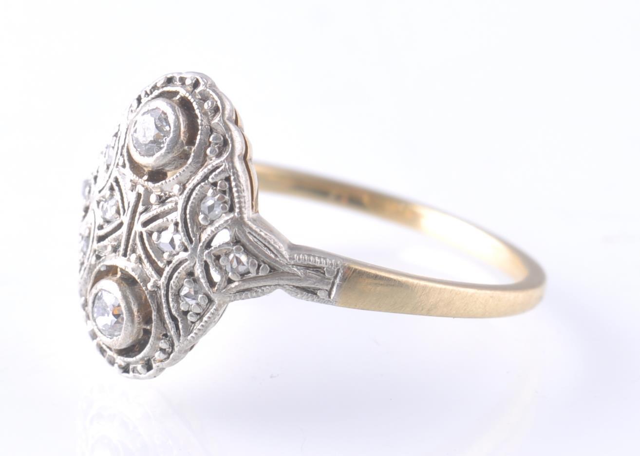 Lot 108 - AN 18CT GOLD & PLATINUM ART DECO DIAMOND RING