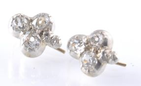 A PAIR OF WHITE GOLD AND DIAMOND TREFOIL EARRINGS