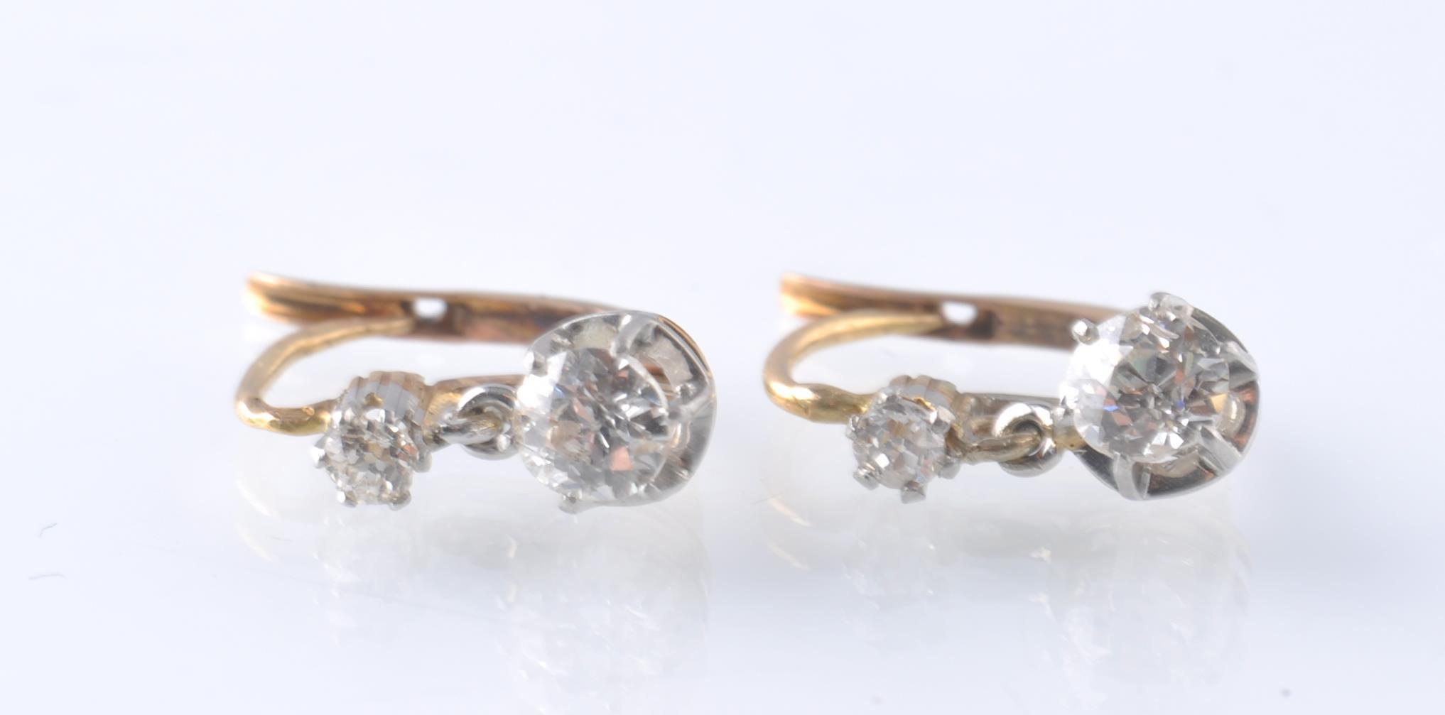 Lot 140 - A PAIR OF FRENCH 18CT GOLD PLATINUM AND DIAMOND DR