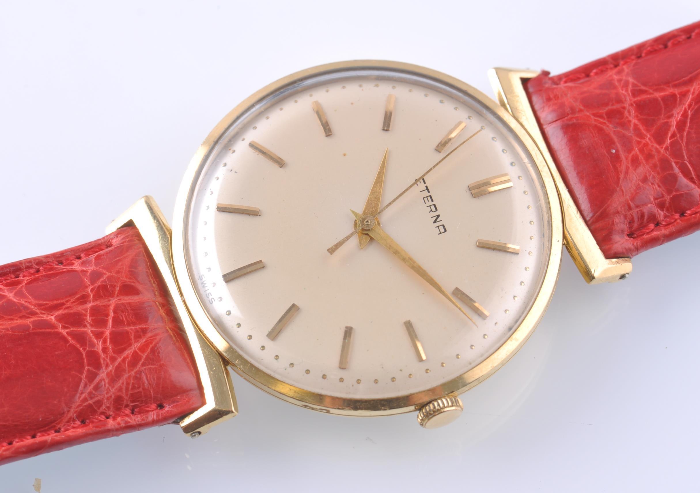 Lot 139 - ETERNA 18CT GOLD 1950'S VINTAGE WRIST WATCH