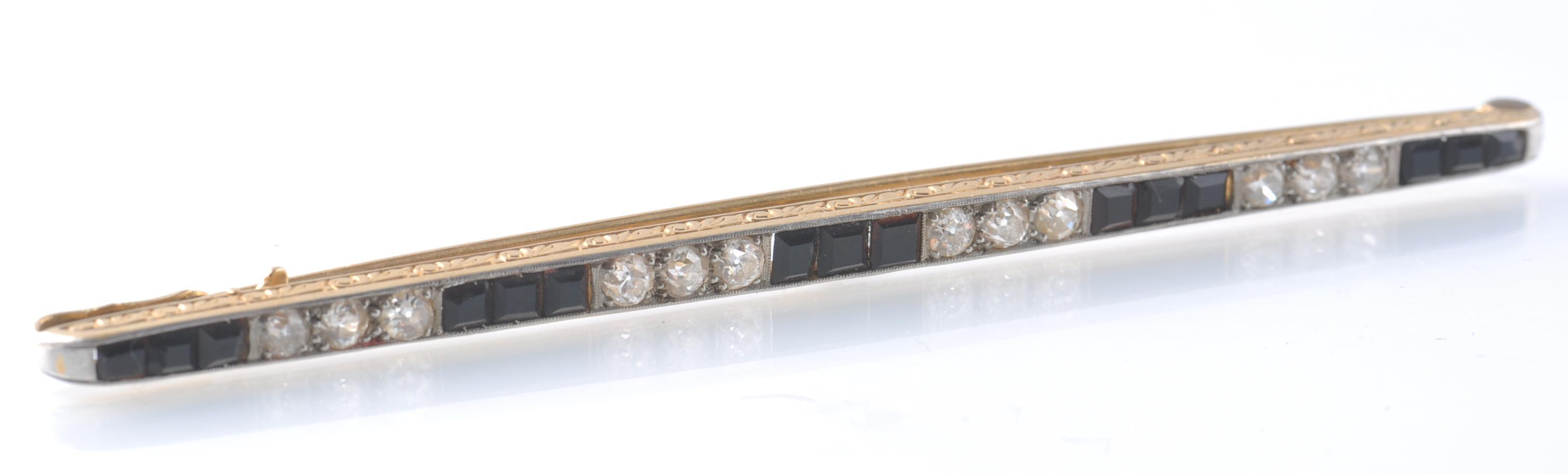 Lot 82 - 1930'S ART DECO LARGE BLACK ONYX AND DIAMOND BAR B