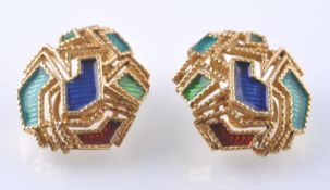 A PAIR OF 18CT GOLD AND ENAMEL EAR CLIPS