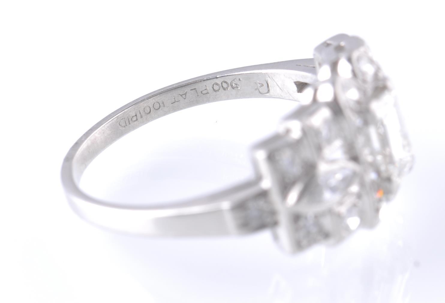Lot 44 - ART DECO PLATINUM AND DIAMOND RING EMERALD AND MAR
