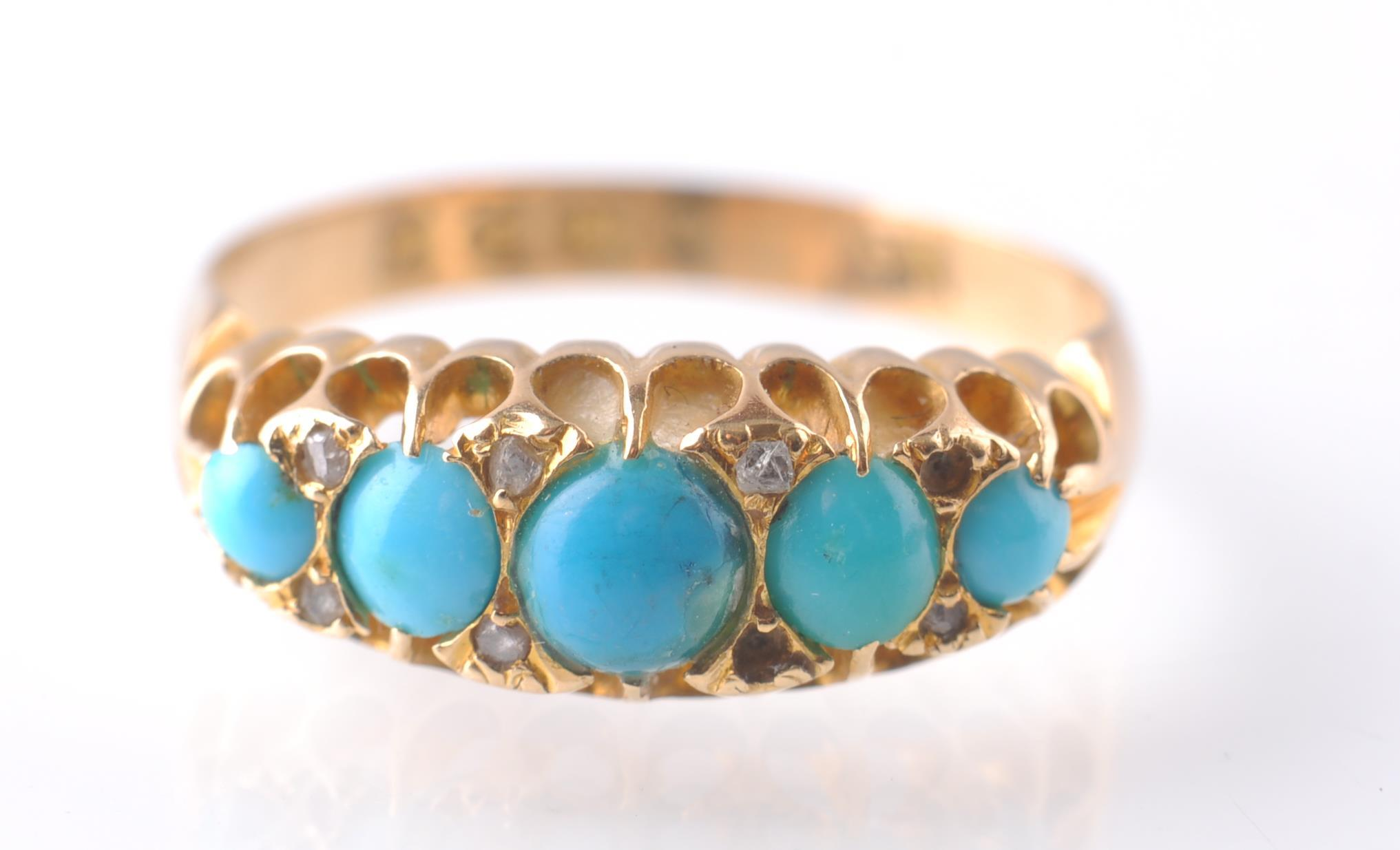 Lot 80 - An 18CT GOLD & TURQUOISE GYPSY RING - 1915