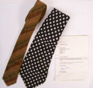 TOM CONTI - SCOTTISH ACTOR - TWO ORIGINAL OWNED & WORN NECK TIES