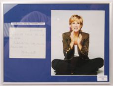 PRINCESS DIANA SIGNED AUTOGRAPHED HAND WRITTEN LETTER