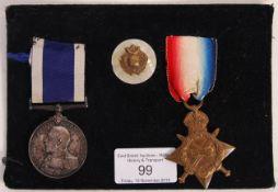 WWI FIRST WORLD WAR MEDAL PAIR & BADGE - ROYAL MAR