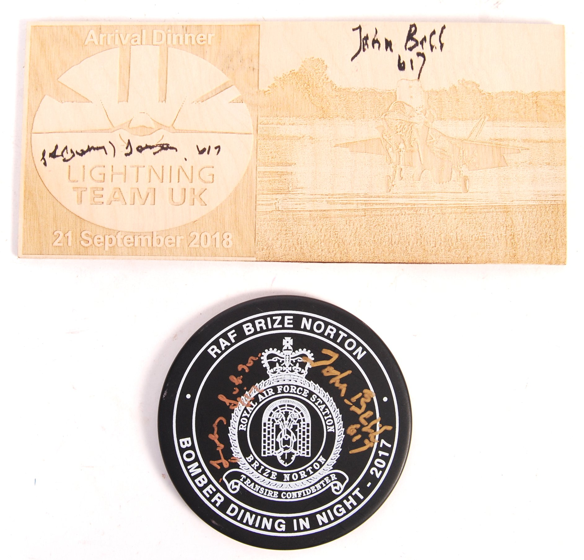 Lot 103 - TWO BOMBER COMMAND AUTOGRAPHED RAF ITEMS