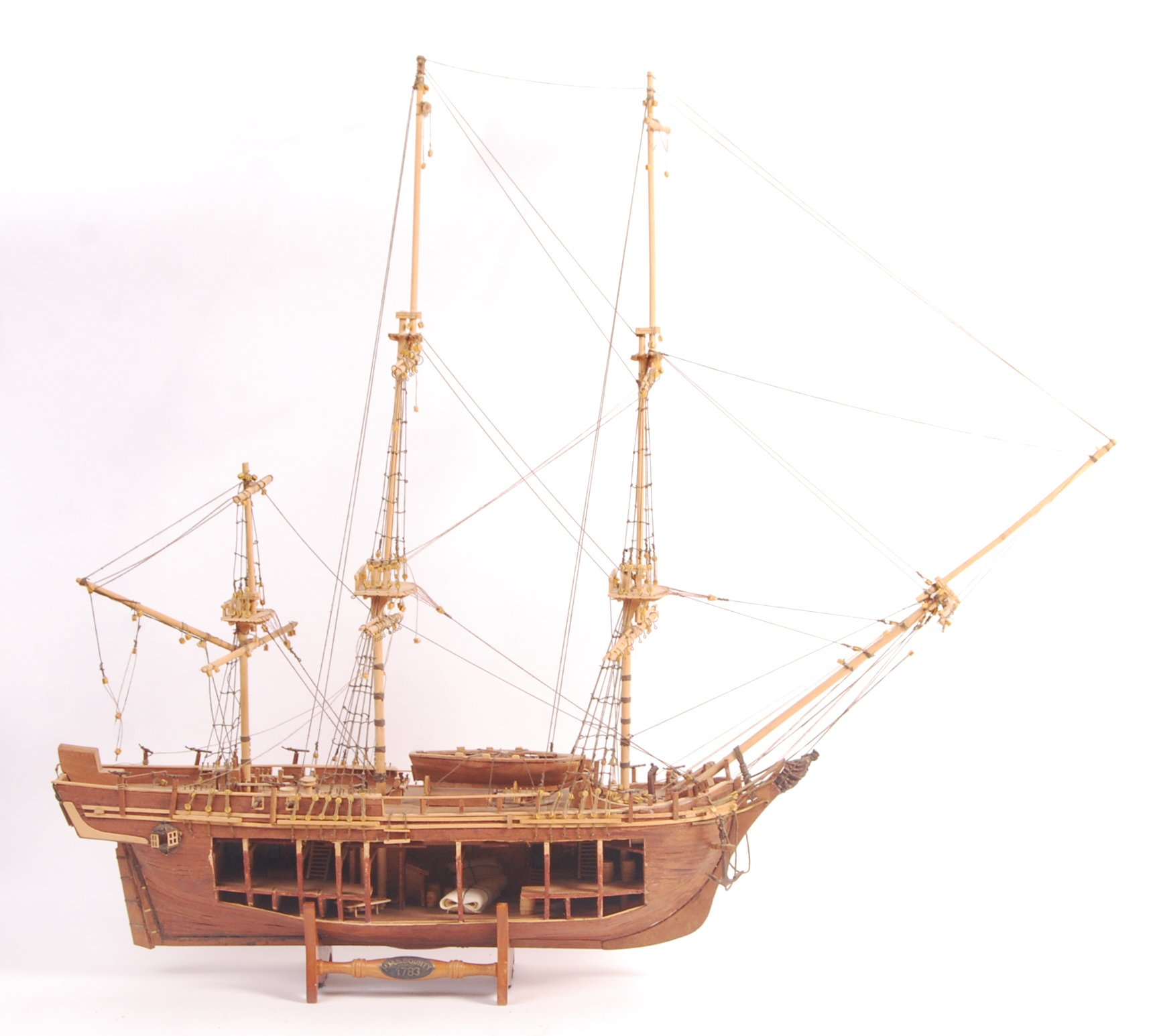 Lot 134 - SCRATCH BUILT MODEL OF THE HMS BOUNTY WITH CUT OUT