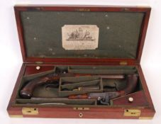 SUPERB PAIR OF 19TH CENTURY DUELLING PISTOLS BY CH