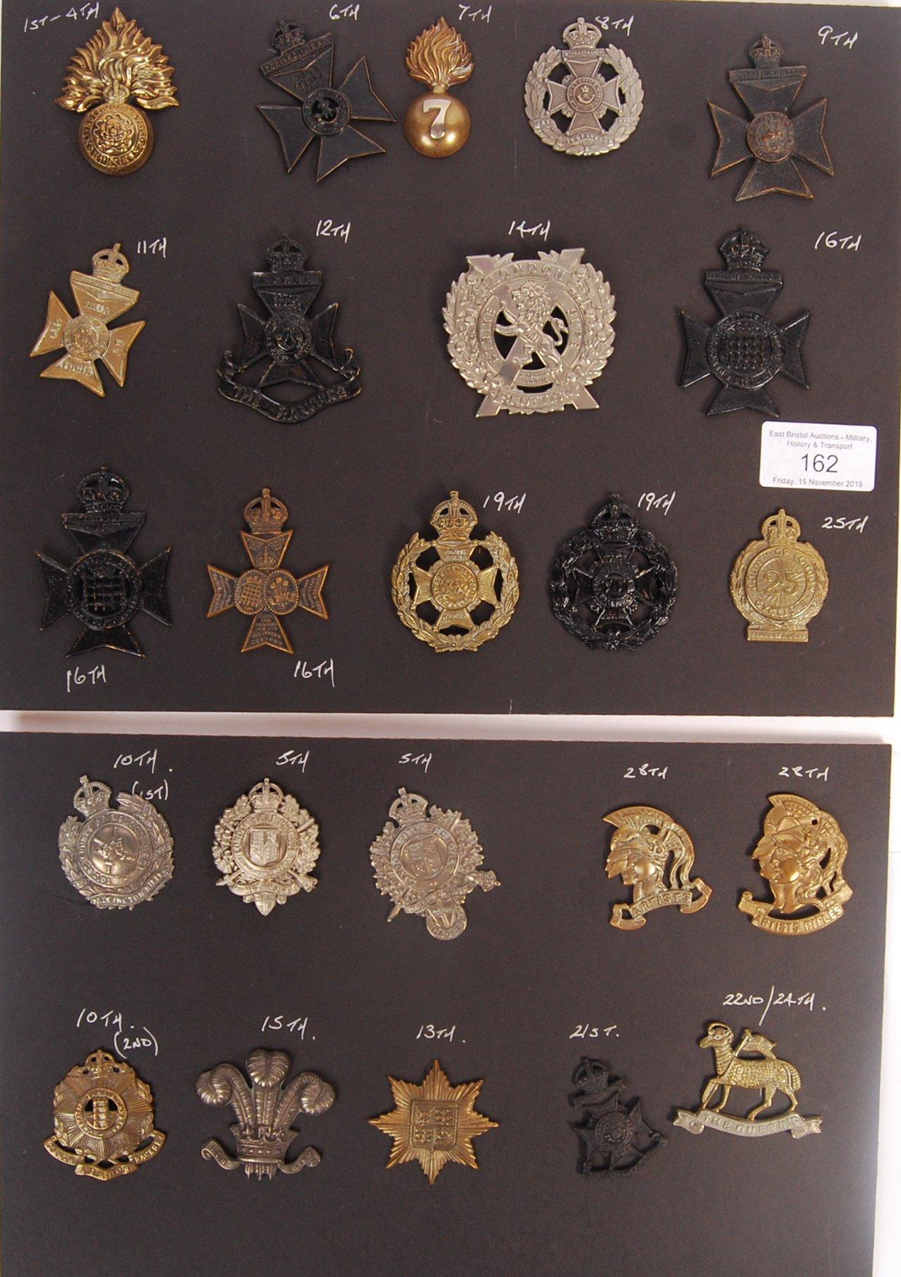 Lot 162 - COLLECTION OF ORIGINAL LONDON REGIMENT UNIFORM CAP