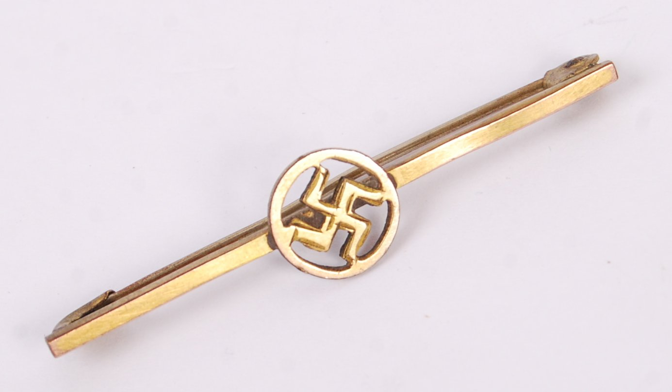 Lot 149 - TWO 1930'S AVIATION GOOD LUCK SWASTIKA BADGES
