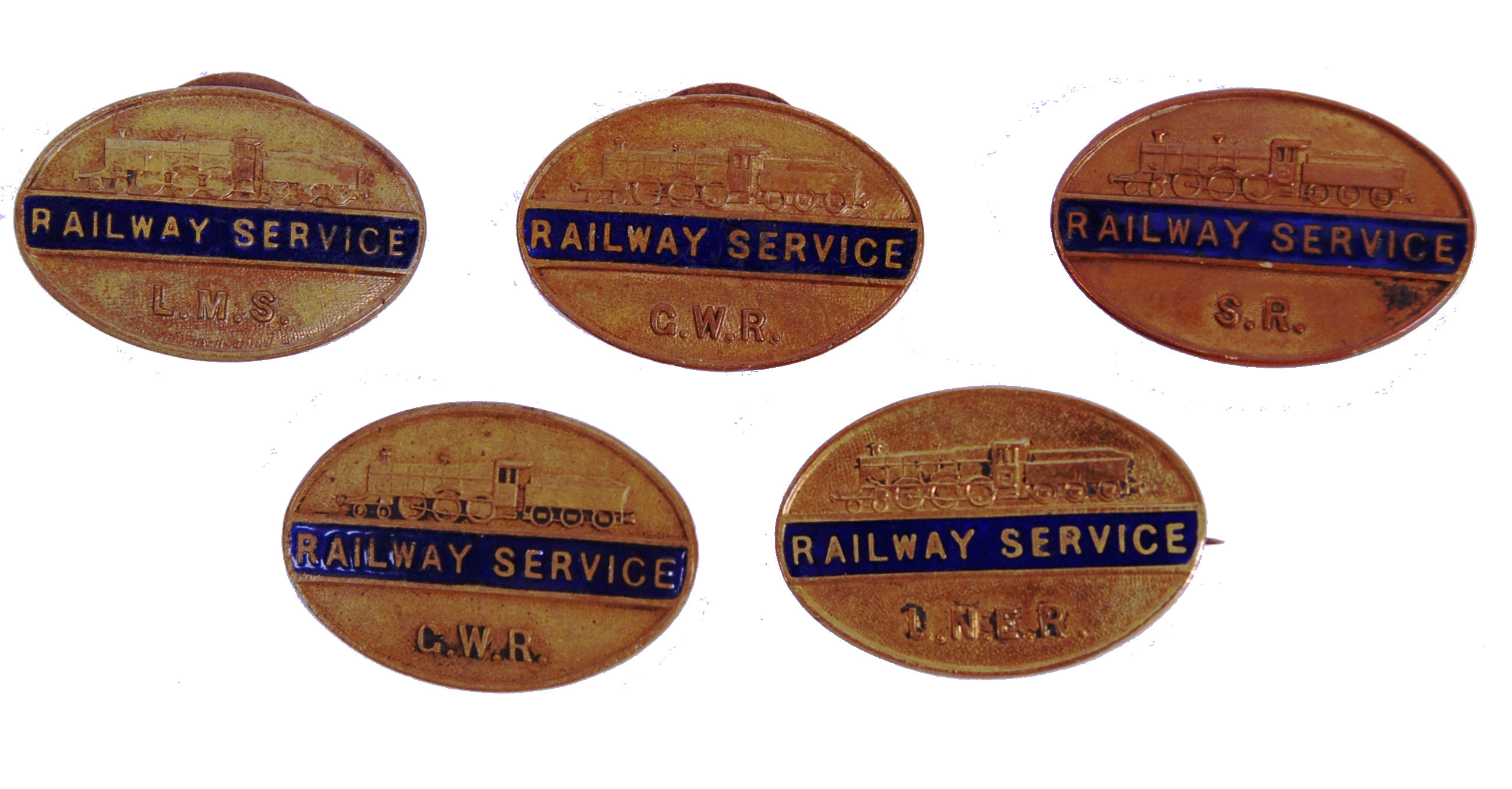 Lot 141 - COLLECTION OF 5X ENAMEL AND BRASS WWII RAILWAY SER