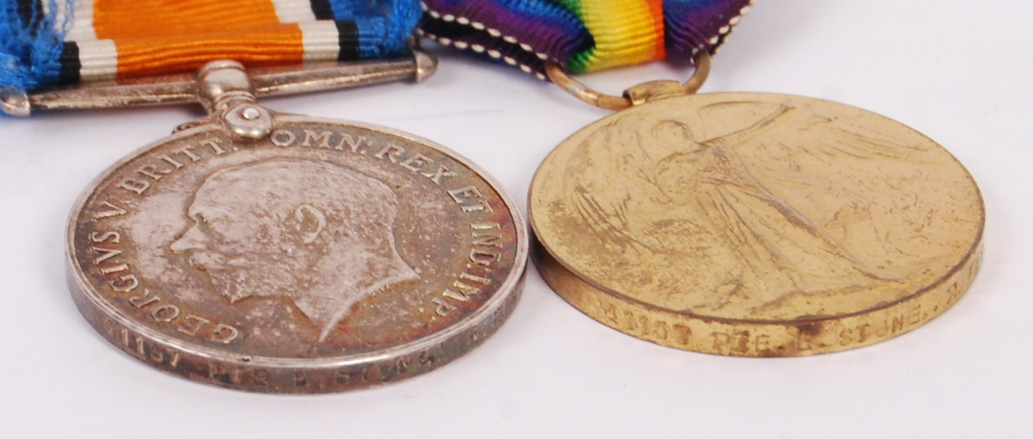 Lot 257 - ORIGINAL WWI MEDAL PAIR PRIVATE E STONE ROYAL FUSI
