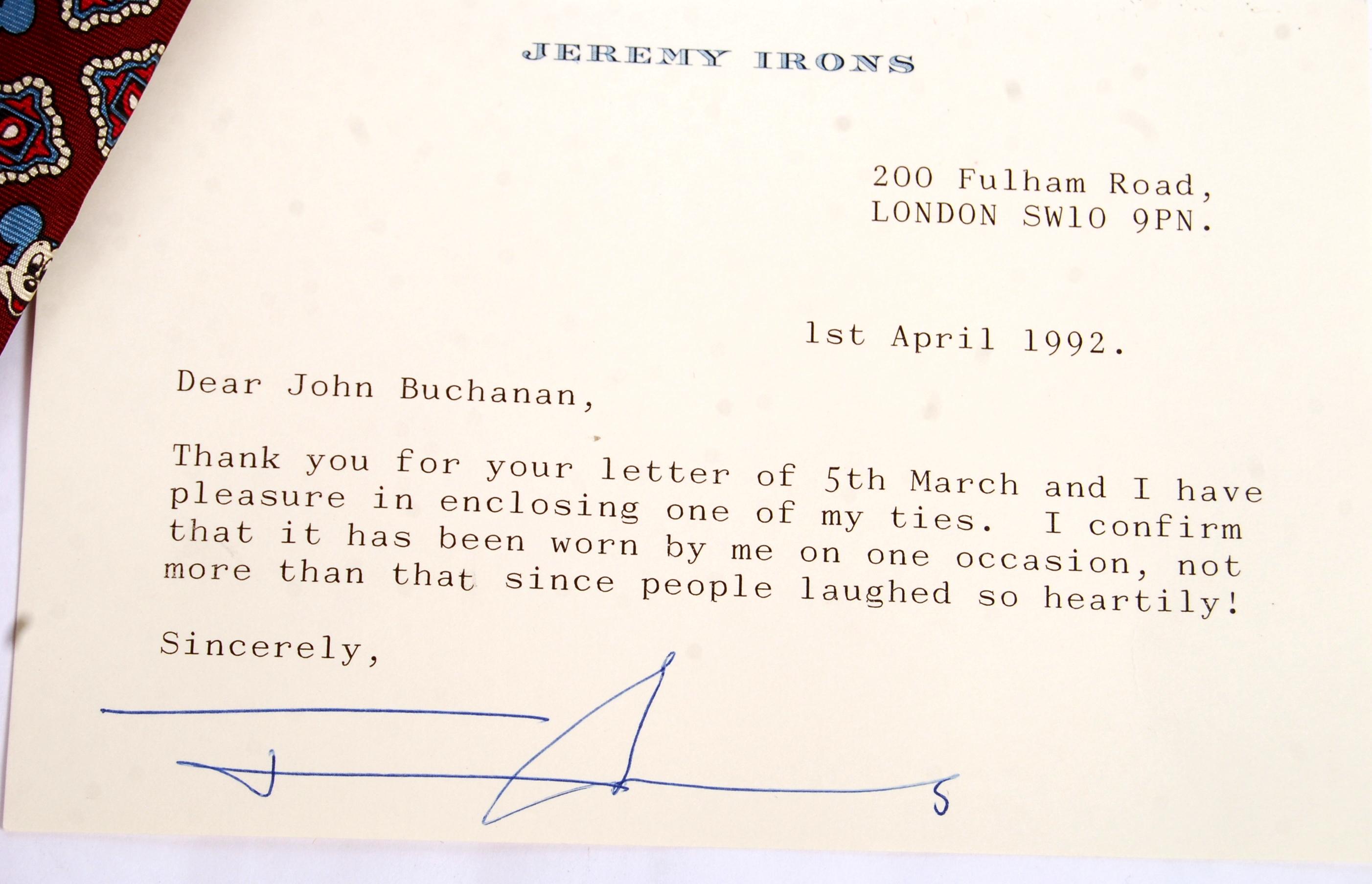 Lot 131 - JEREMY IRONS - ENGLISH ACTOR - DIE HARD II - WORN