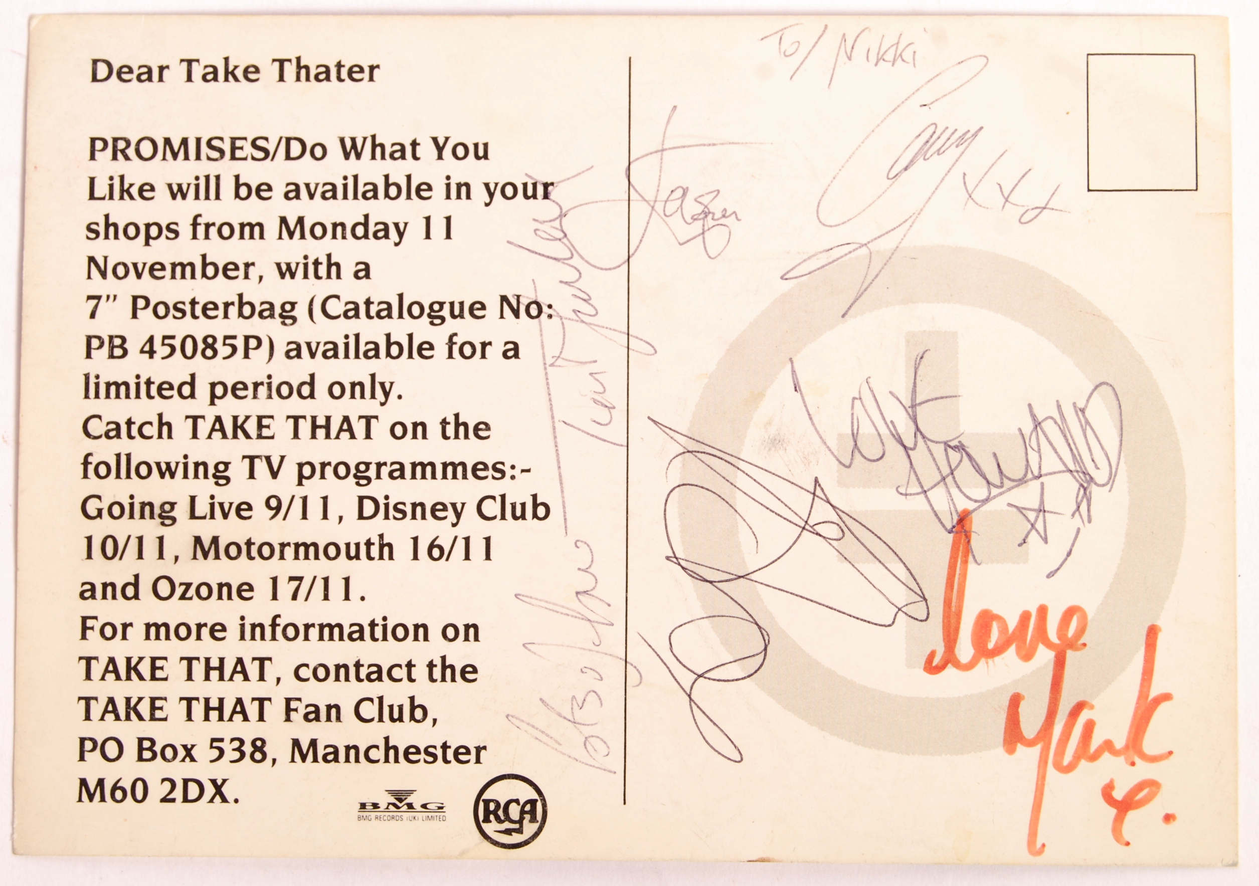 Lot 108 - RARE ' TAKE THAT ' FULL BAND AUTOGRAPHED PROMOTION