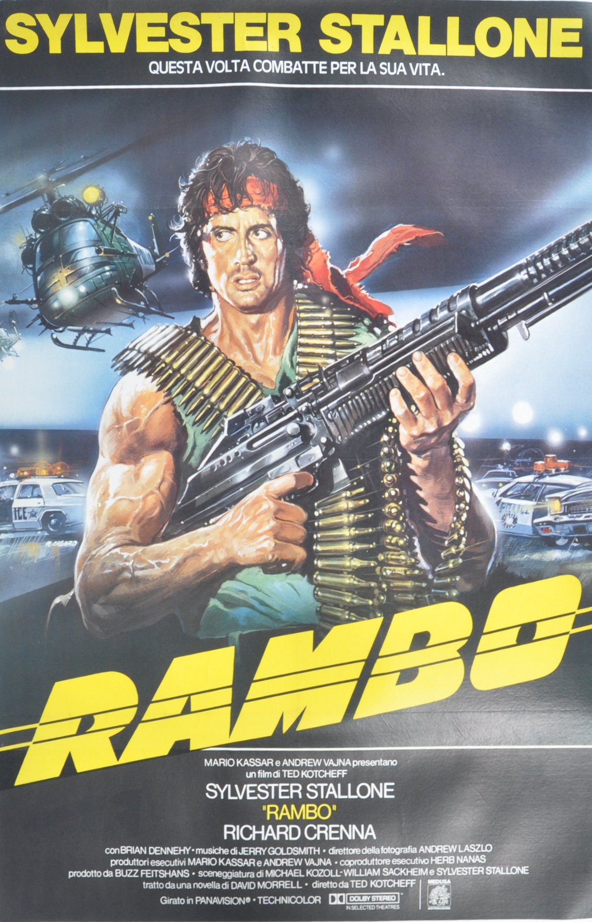 Lot 109 - ORIGINAL 1980'S RAMBO FIRST BLOOD ITALIAN MOVIE PO