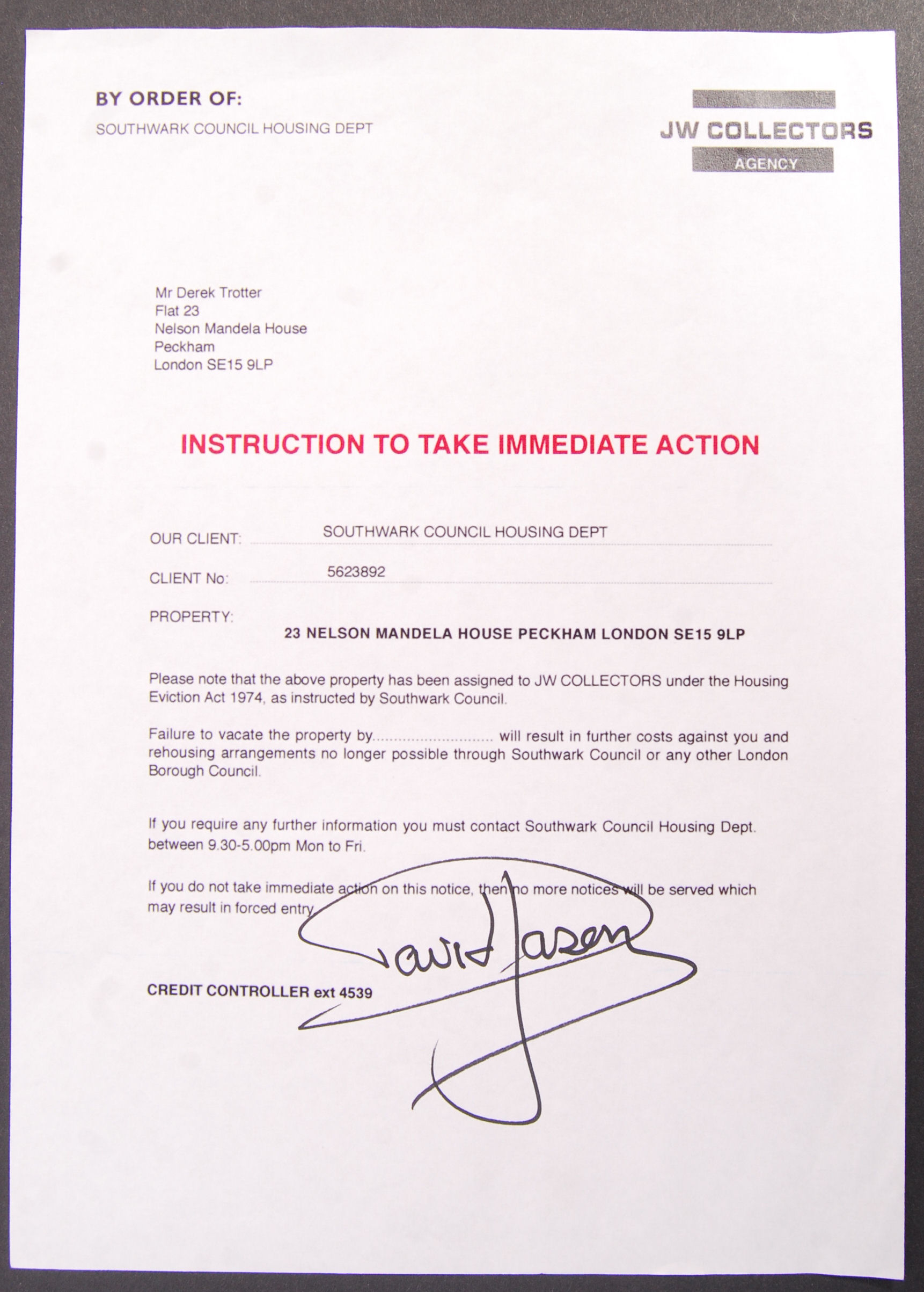 Lot 130 - ONLY FOOLS & HORSES - AUTOGRAPHED PROP LETTER