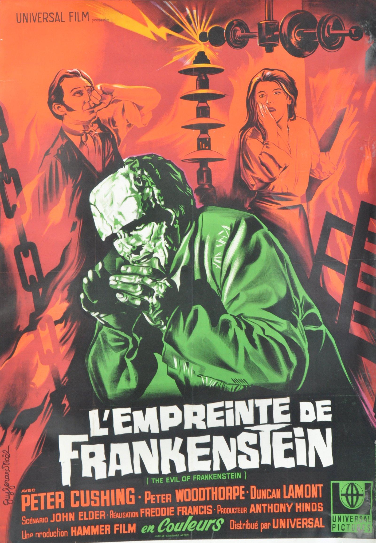 Lot 11 - 1960'S EVIL OF FRANKENSTEIN FRENCH MOVIE POSTER